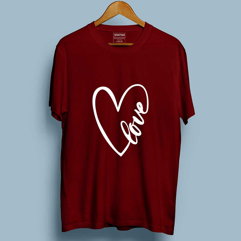 Love Maroon Couple Tees