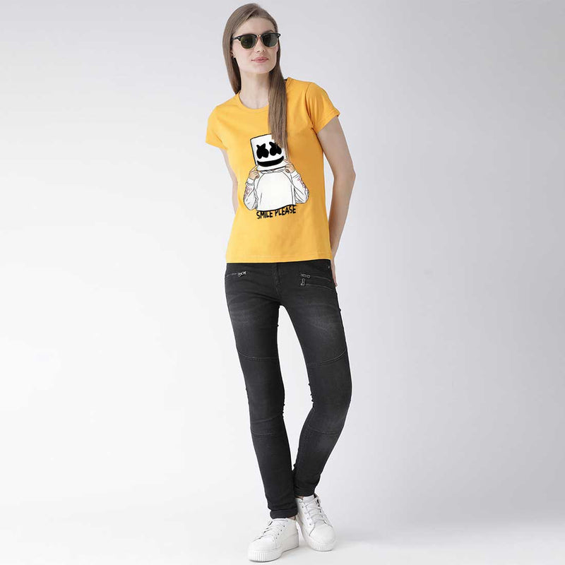 Marshlello Smile Women Mustard T Shirt