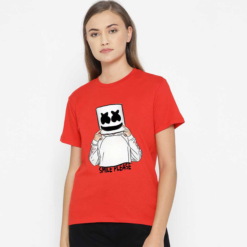 Marshlello Smile Women Red T Shirt