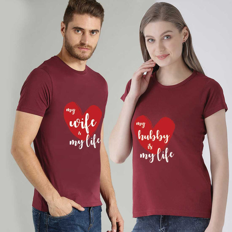 My Wife Is My Love My Hubby Is My Love Maroon Couple Tees