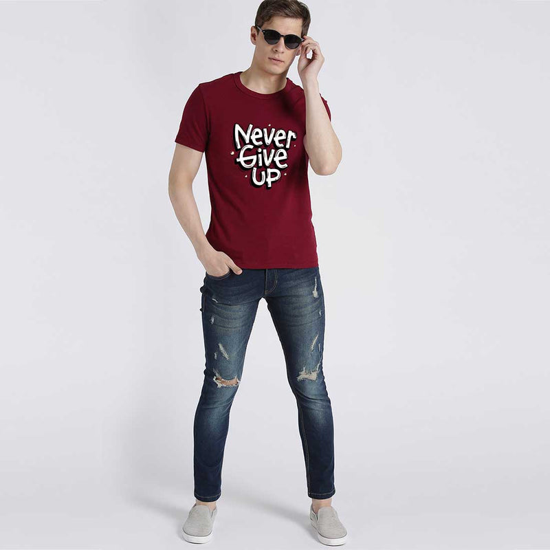 Never Give Up Maroon Men T-Shirt
