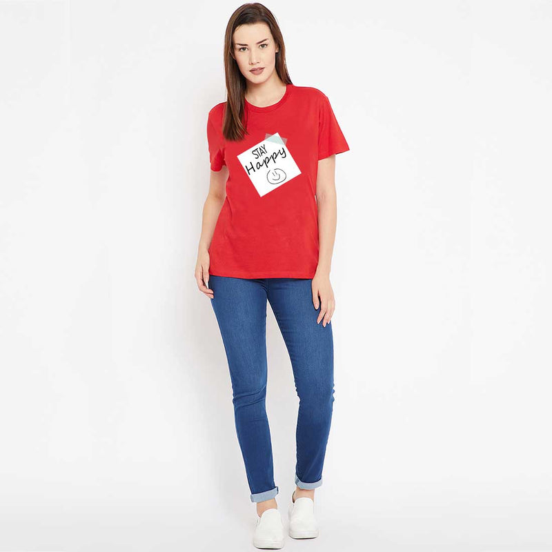 Stay Happy Red Women T-Shirt