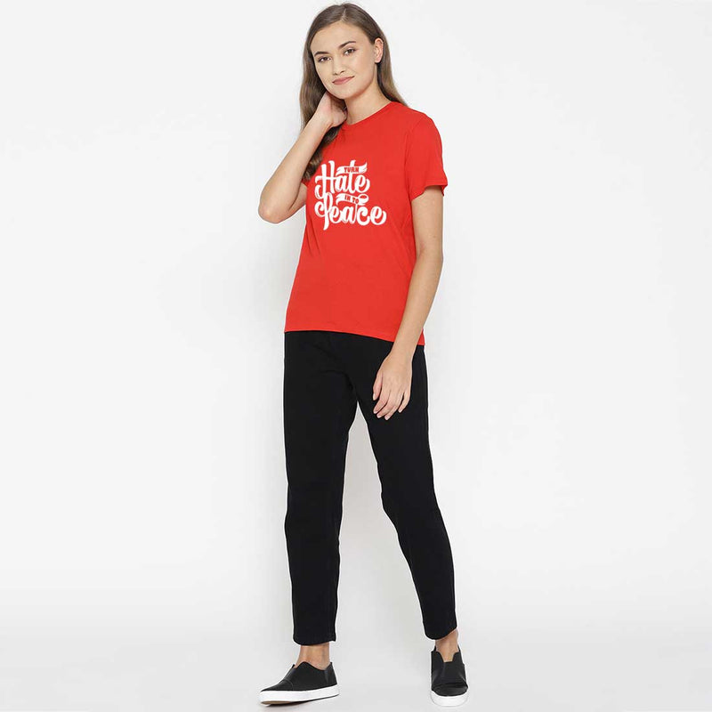 Turn Hate Into Peace Red Women T-Shirt