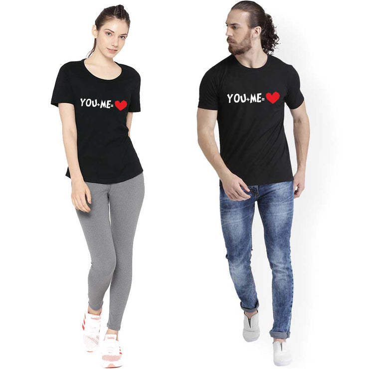 You Plus Me Black Couple Tees