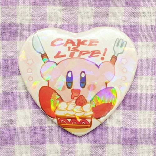 Cake is Life! Holo Heart button badge - PonCrafts