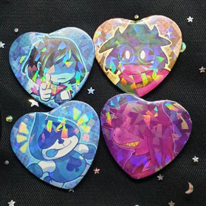 Deltarune Holo heart button badge - PonCrafts