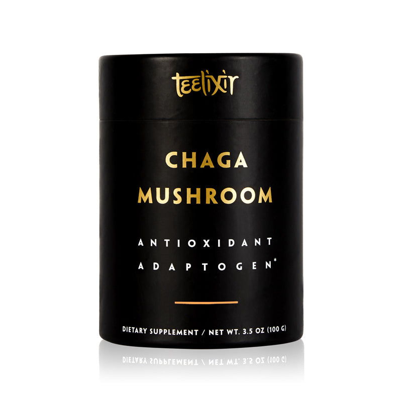 Teelixir Australian Certified Organic Wild Siberian Chaga Mushroom 10:1 Dual-Extract Powder Boost Antioxidants Increase Energy Natural Gut Health Relief wildcrafted vegan gluten free paleo non GMO 100g 3.5 oz