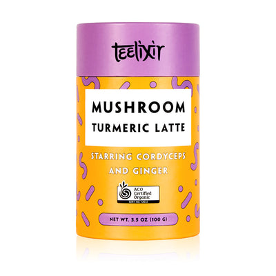 Teelixir Turmeric Golden Milk Latte Mix Blend Starring Cordyceps miltaris superfood medicinal mushroom dual extract powder and Ginger - 100% Certified Organic ingredients Vegan, Paleo, Gluten Free, Zero Sugar, Caffeine Free Coffee Alternative Dairy for energy fitness boost performance 100 grams 3.5 oz