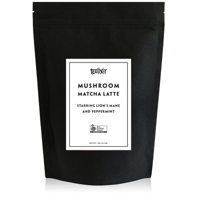 Teelixir Mushroom Ceremonial grade Matcha latte green tea powder from Kagoshima Japan Blend Starring Lion's Mane hericium erinaceus superfood medicinal mushroom adaptogen dual extract powder and Peppermint - 100% Certified Organic ingredients Vegan Paleo Gluten Free Zero Sugar Caffeine Free Coffee Alternative that is dairy free brain and mood health mental performance wellbeing. 1 kg 2.2 lb bulk