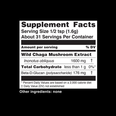 Teelixir Australian Certified Organic Wild Siberian Chaga Mushroom 10:1 Dual-Extract Powder Boost Antioxidants Increase Energy Natural Gut Health Relief wildcrafted vegan gluten free paleo non GMO Nutritional Information Supplement Facts