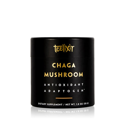 Teelixir Australian Certified Organic Wild Siberian Chaga Mushroom 10:1 Dual-Extract Powder Boost Antioxidants Increase Energy Natural Gut Health Relief wildcrafted vegan gluten free paleo non GMO 50g 1.8 oz