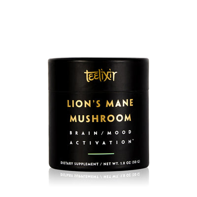 Teelixir Australian Certified Organic Lion's Mane Mushroom hericium erinaceus 10:1 Dual Extract Powder - Boost Brain Power Elevate Mood Calm the Mind improve memory focus support immunity gut health benefits 50 g 1.8 oz