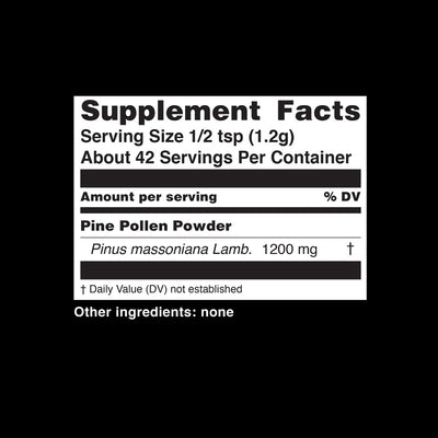 Teelixir Wild Raw Pine Pollen Superfood Powder - Increase Energy, Balance Hormones All Natural Androgens source, Nourish Skin and Beauty Health Improve libido sex drive - Nutritional Information Dietary Supplement Facts