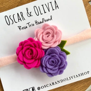 Rose Trio Headband - Valentine 1
