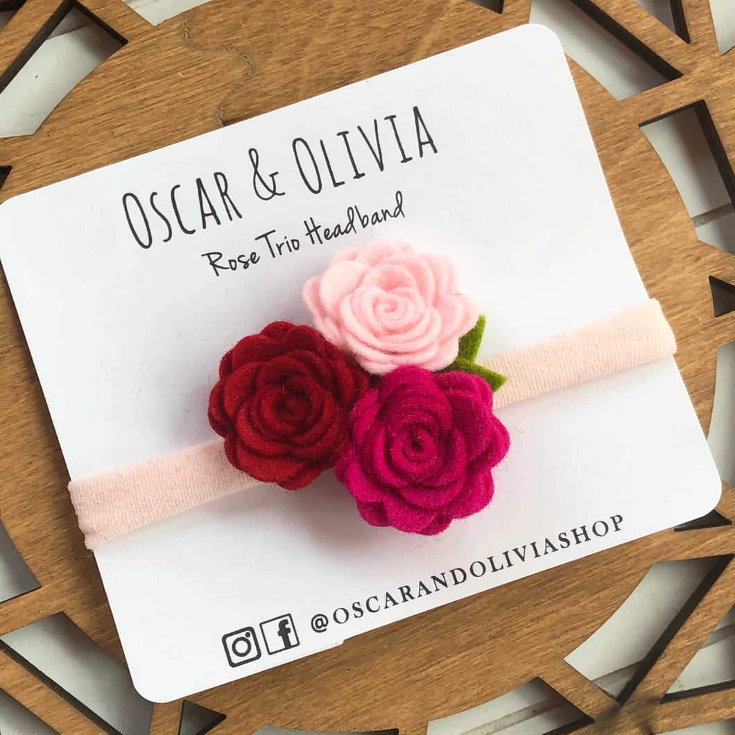 Rose Trio Headband - Valentine 3