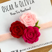 Load image into Gallery viewer, Rose Trio Headband - Valentine 3