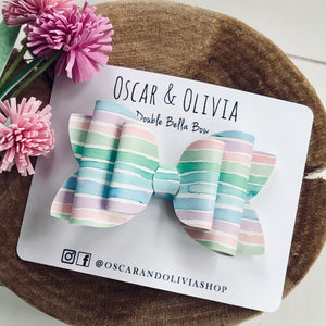 Double Bella Bow - St. Patty's Rainbow