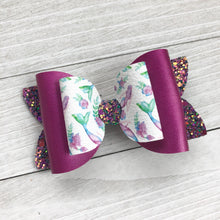 Load image into Gallery viewer, Double Bella Bow - Purple Mermaids