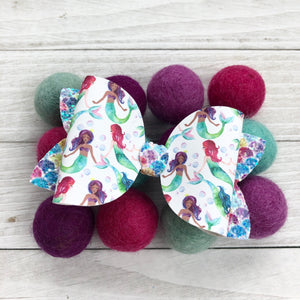 Large Bella Bow - Purple Mermaids
