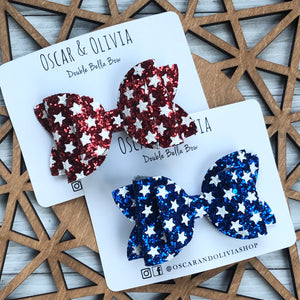 Double Bella Bow - Glitter Stars