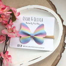 Load image into Gallery viewer, Butterfly Pinch Bow - Pastel Rainbow