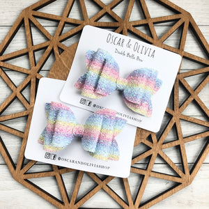 Double Bella Bow - Rainbow Glitter