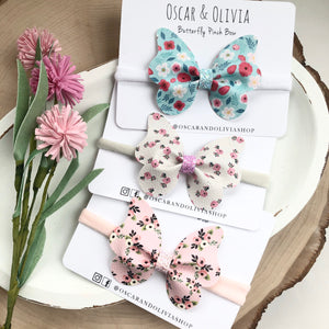 Butterfly Pinch Bow - Floral