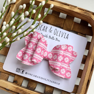 Double Bella Bow - Pink Snowflake