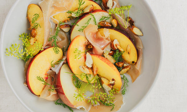 White Peach, Prosciutto and Almond salad