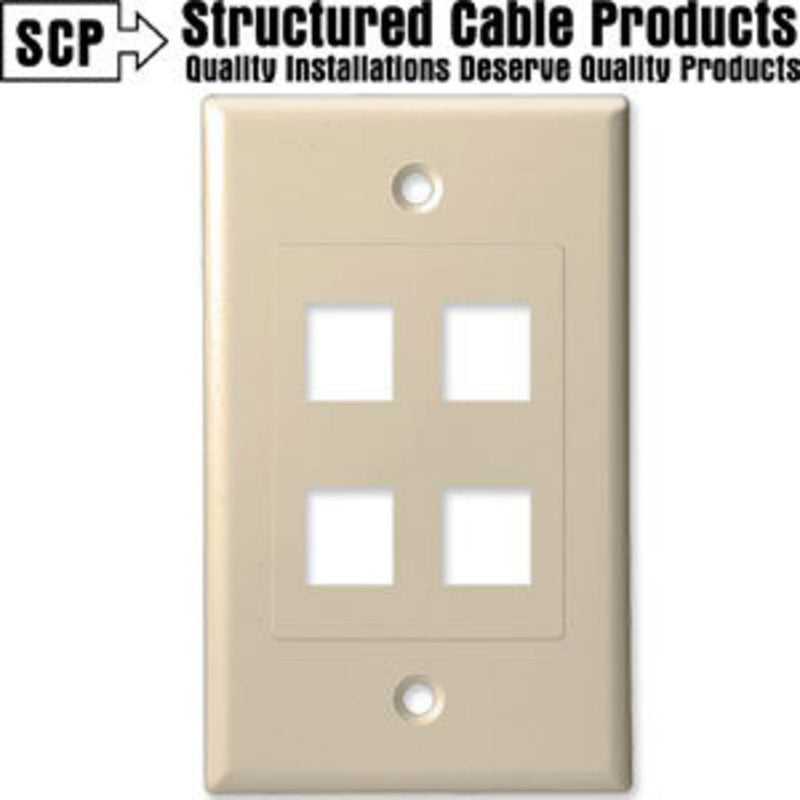 SCP 204D-AL 4Port Almond Insert & Wall Plate