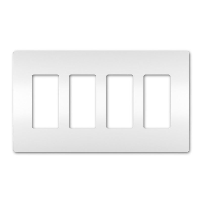 OnQ RWP264W radiant® Four-Gang Screwless Wallplate - White
