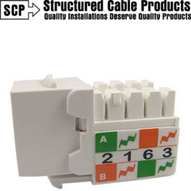 SCP CAT6-JACK-WT White Cat6 90-Deg Keystone Insert