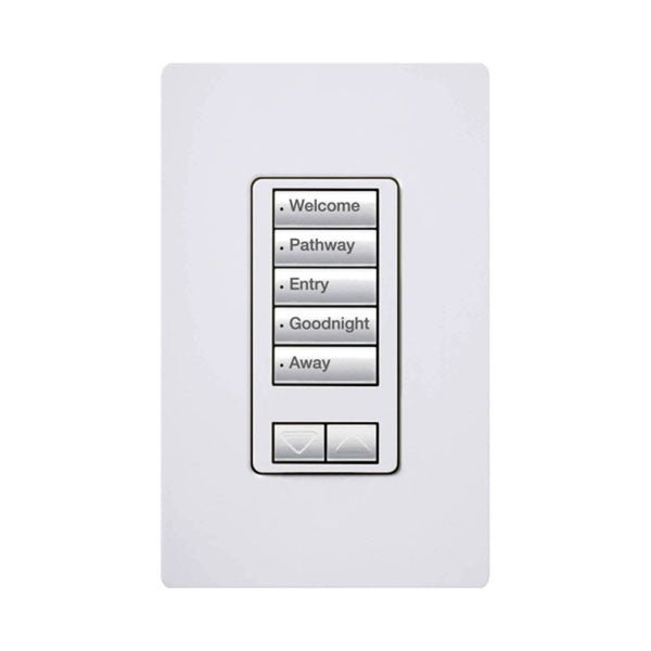Lutron RRD-W5BRL-WH 5 Button with Raise/Lower Keypad