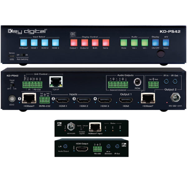 Key Digital KD-PS42 4K/18G Presentation Switcher with 4 Inputs (HDBaseT, 3x HDMI), 2 Mirrored Outputs (HDBaseT, HDMI), Audio De-Embed, IR, RS-232, IP, CEC Manager™. Includes Rx.