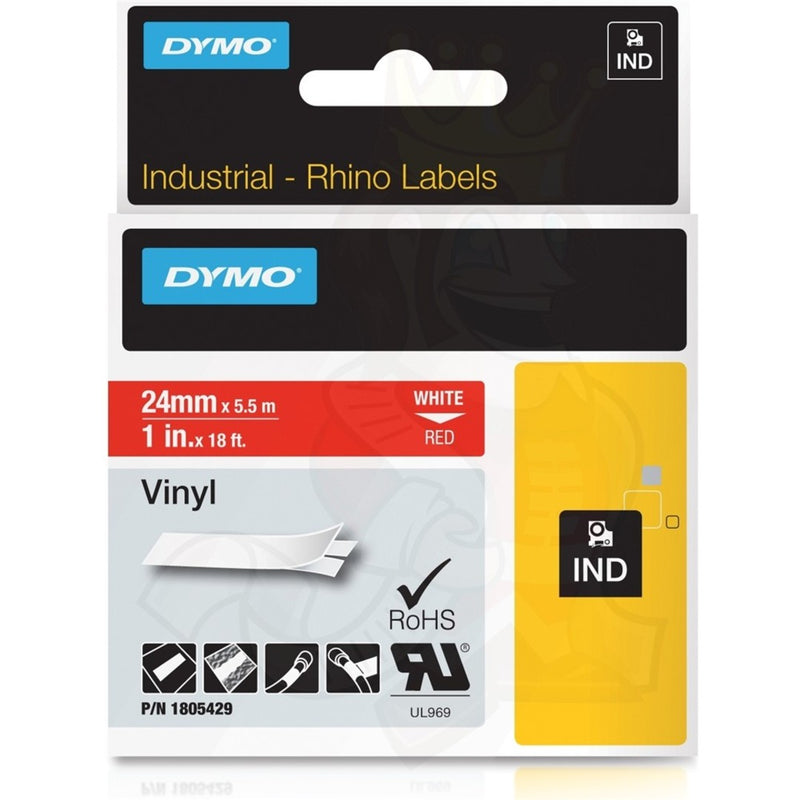 Rhino Labels 1805429 Red Vinyl Tape - 24mm, White Text