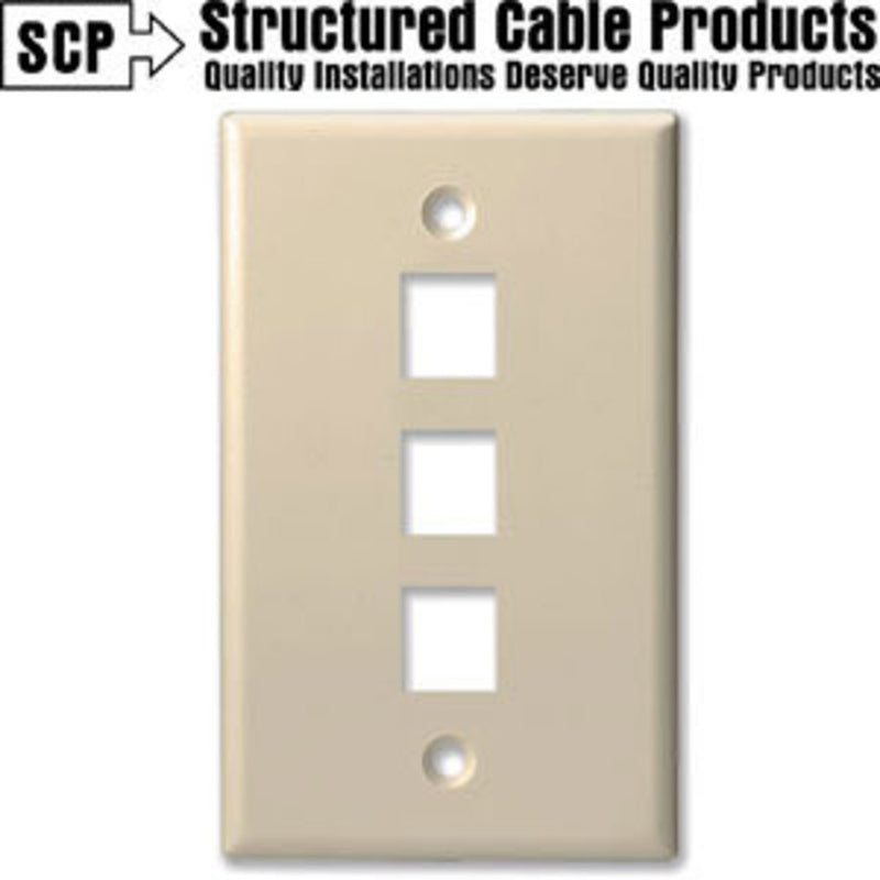 SCP 203-AL 3Port Almond Keystone Wall Plate