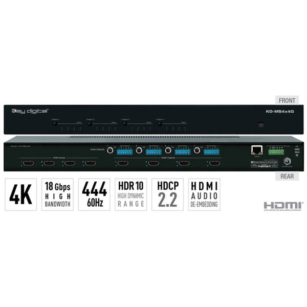 Key Digital KD-MS4x4G 4x4 4K/18G HDMI Matrix Switcher, with Independent Audio Switching, Balanced/Unbalanced Audio, Audio De-embedding of Analog L/R/PCM