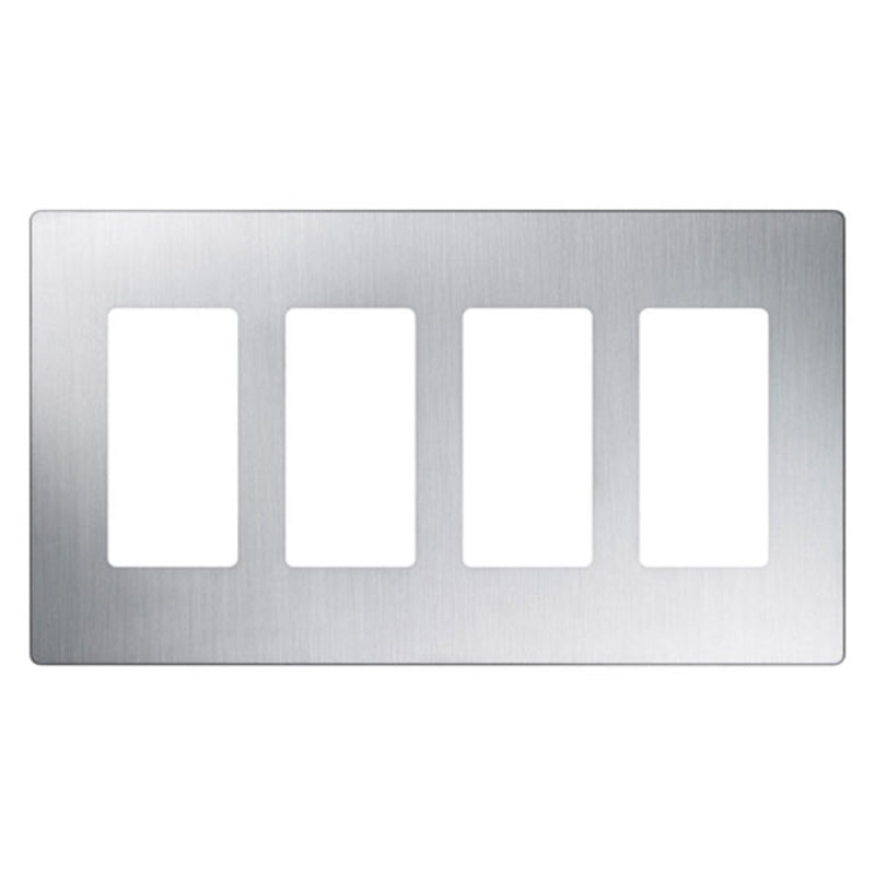 Lutron CW-4-SS Claro 4-Gang Decorator Screwless Wall Plate - Stainless Steel