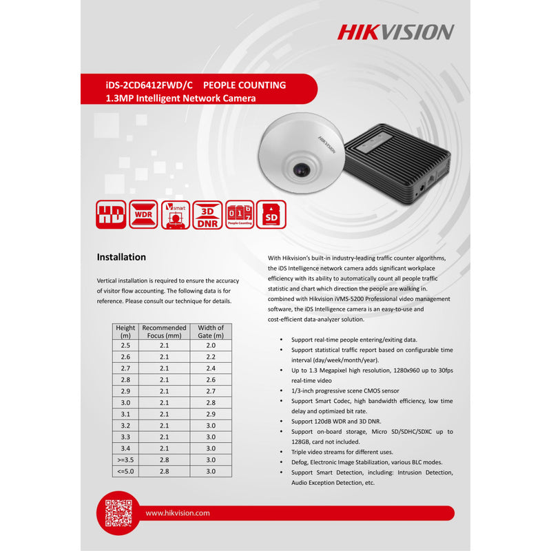 Hikvision IDS-2CD6412FWD/C 2.8MM 1.3MP Intellegent Network People Counting Camera w/ 2.8mm Lens