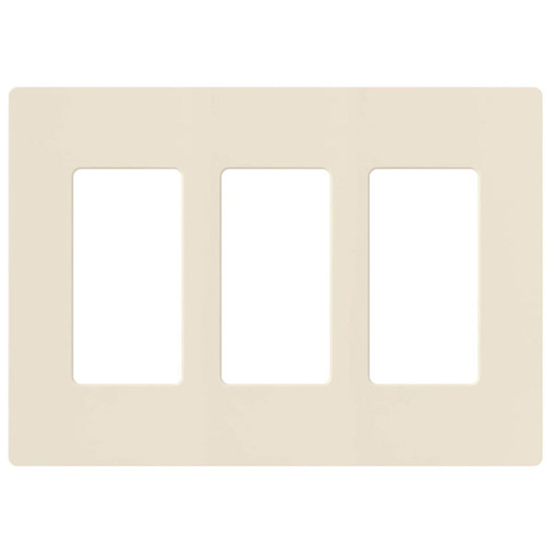 Lutron CW-3-LA Claro 3-Gang Decorator Screwless Wall Plate - Light Almond