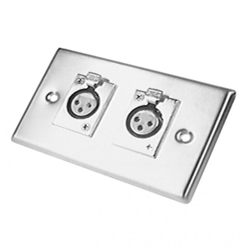 Calrad 30-596 Dual XLR Female Steel Wall Plate