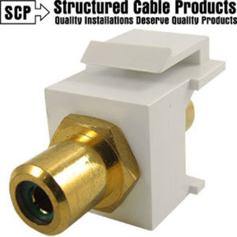 SCP 243GN-WT Green-White Keystone RCA Insert