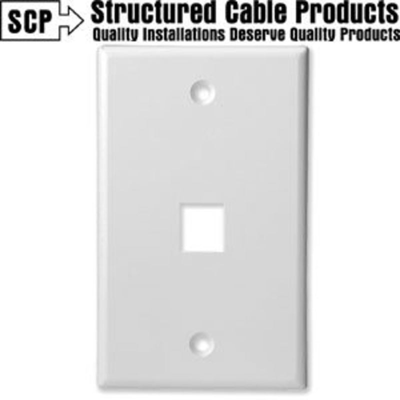 SCP 201-WT 1Port White Keystone Wall Plate