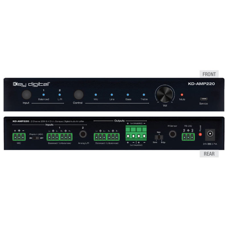 Key Digital KD-MS8x8G 8x8 4K/18G HDMI Matrix Switcher, with Independent Audio Switching, Balanced/Unbalanced Audio, Audio De-embedding of Analog L/R/PCM