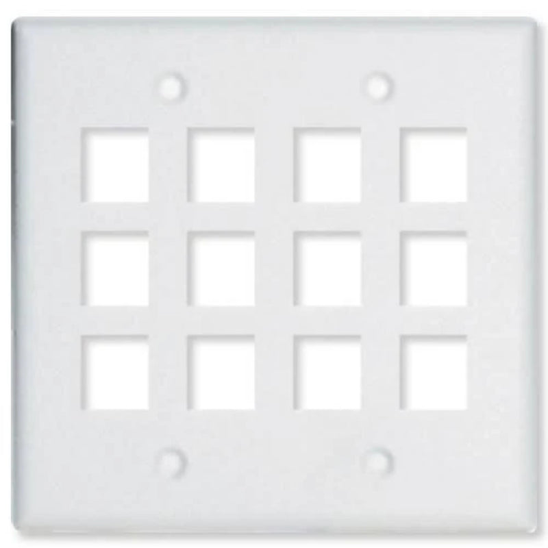 OnQ WP3212WH Two Gang Wallplate 12-Port - White
