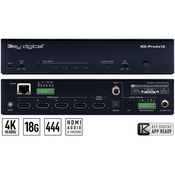 Key Digital KD-Pro4x1X 4x1 4K/18G HDMI Switcher with De-Embedded Audio Output (Optical/Balanced Audio) and IP Control
