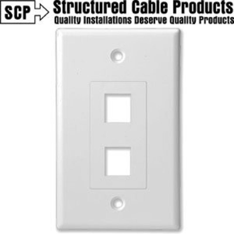 SCP 202D-WT 2Port White Insert & Wall Plate