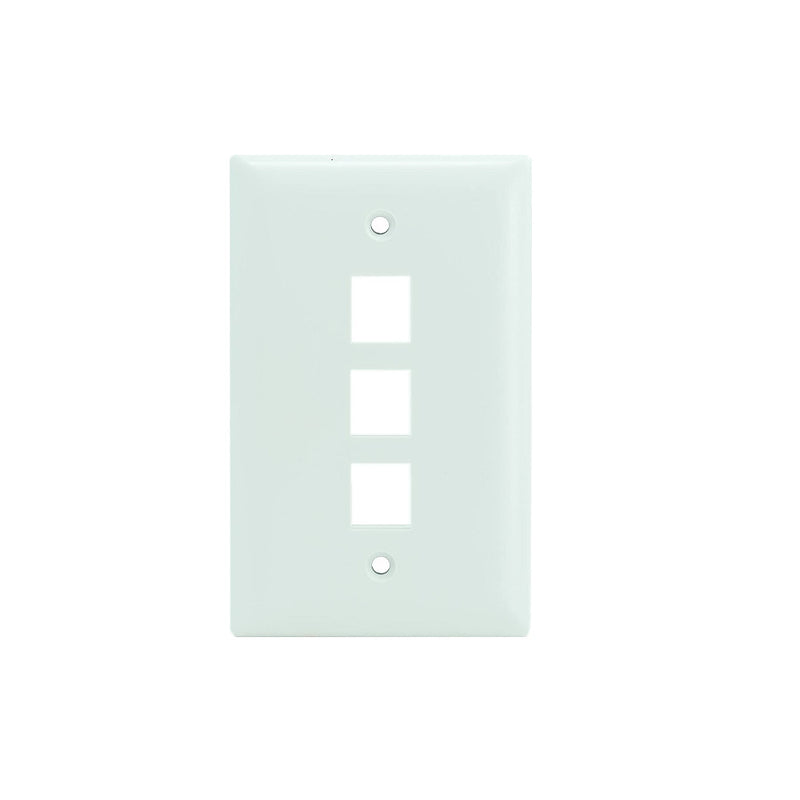 OnQ WP3403-WH-10 1-Gang 3-Port Wallplate 10-Pk