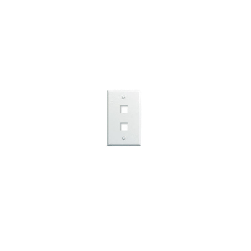 OnQ WP3402-WH Single Gang Wallplate, 2-Port (White)