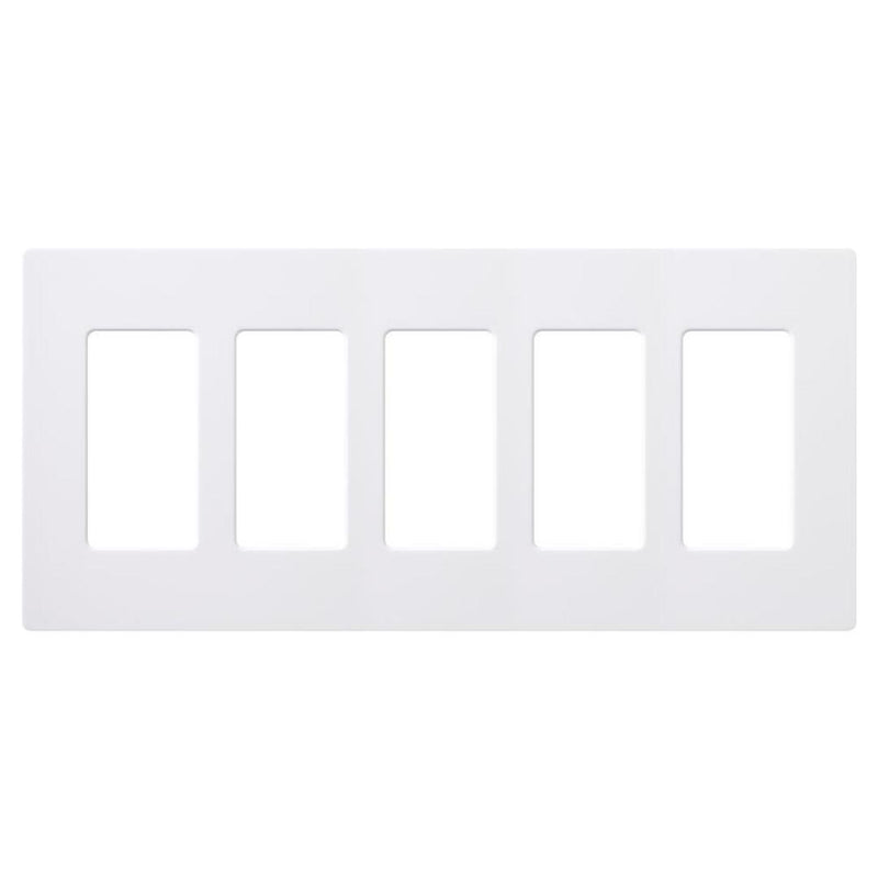 Lutron CW-5-WH Claro 5-Gang Decorator Screwless Wall Plate - White